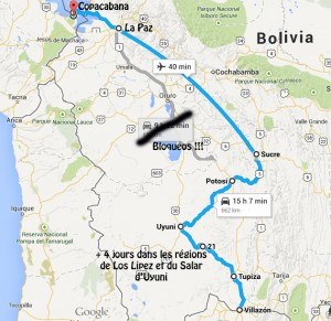 Carte trajet Bolivie