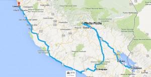 Carte trajet Pérou