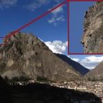 Près d'Ollantaytambo, un visage inca se distingue sur la proche montagne.