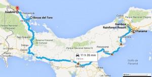 Carte trajet Panama